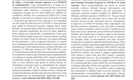 Recomendaciones nutricionales para el personal de salud  y el personal esencial expuesto a la COVID-19 en Latinoamérica