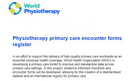 Registro de formularios de encuentro de atención primaria de fisioterapia