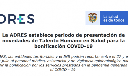 Novedades de Talento Humano en Salud para la bonificación COVID-19