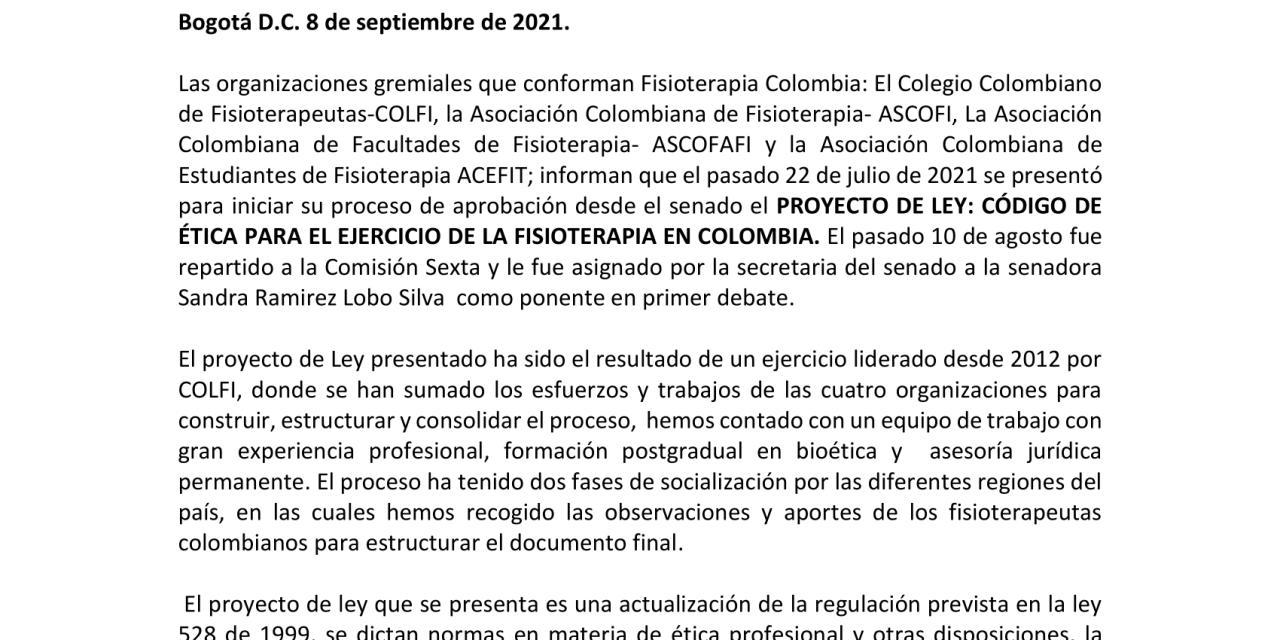 Proyecto de ley: Código de ética para el ejercicio de la fisioterapia en Colombia
